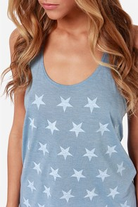 Billabong USA Yeah Blue Star Print Tank Top at Lulus.com!