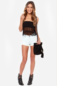 Crochet Grace Strapless Black Top at Lulus.com!
