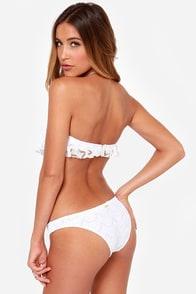 Roxy Bandeau Ruffle White Lace Monokini at Lulus.com!