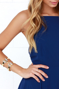 Draw a Bow Gold Rhinestone Bracelet at Lulus.com!