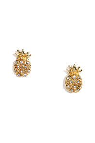 Tiki Room Gold Rhinestone Pineapple Earrings at Lulus.com!