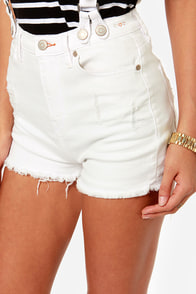 Dittos Clarissa Distressed White Suspender Shorts at Lulus.com!