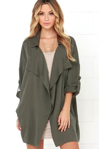 Lucky Break Olive Oversized Jacket