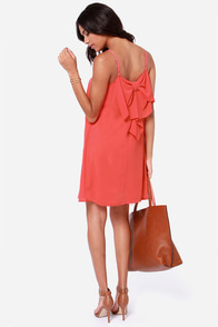 LULUS Exclusive Bow Fo Show Coral Orange Shift Dress at Lulus.com!
