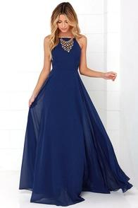 Elegant Navy Blue Dress - Maxi Dress - Cocktail Dress - Prom Dress ...