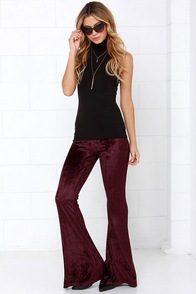 Raga Wine Nights Dark Maroon Velvet Flare Pants at Lulus.com!