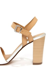 City Classified Belini Off White and Silver Ankle Strap Sandals at Lulus.com!