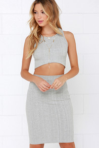 Leader of the Pack Heather Grey Bodycon Two-Piece Dress at Lulus.com!