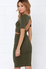Clean Cut-Out Olive Green Two-Piece Dress at Lulus.com!