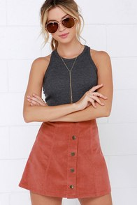 Attagirl Rust Red Corduroy A-Line Skirt at Lulus.com!