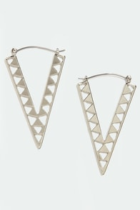Newfangled Angle Silver Earrings at Lulus.com!