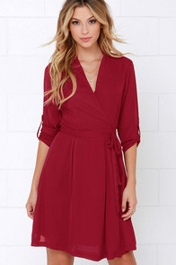 Candy Wrapper Wine Red Long Sleeve Wrap Dress at Lulus.com!