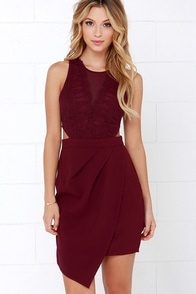 Dancing Cheek to Cheek Burgundy Lace Dress at Lulus.com!