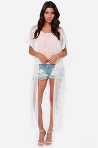 Long Silent Type Cream Lace Kimono Top at Lulus.com!