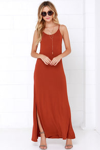 Lucy Love Pool Party Rust Red Maxi Dress at Lulus.com!