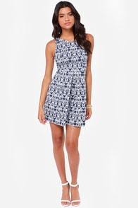 The Regal Thing Blue Print Dress at Lulus.com!