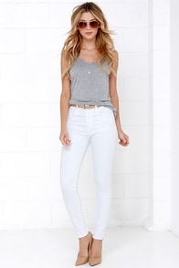 Get a Party Going White High-Waisted Skinny Jeans at Lulus.com!