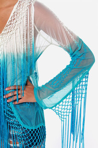 Raviya Take a Dip Cream and Aqua Blue Fringe Top at Lulus.com!