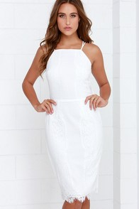 Endlessly Enchanting Ivory Lace Midi Dress at Lulus.com!