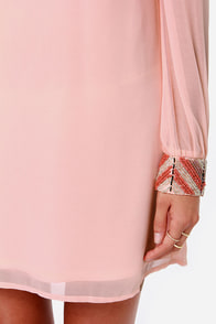 LULUS Exclusive Bead Reputation Peach Shift Dress at Lulus.com!