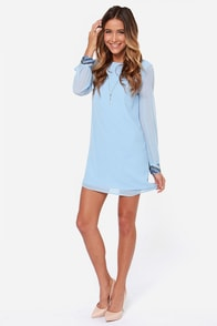 LULUS Exclusive Bead Reputation Light Blue Shift Dress at Lulus.com!