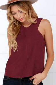 Perfectly Per-Sueded Burgundy Top at Lulus.com!