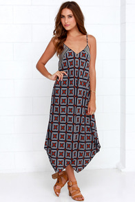 Made it to Moscow Navy Blue Print Midi Dress at Lulus.com!