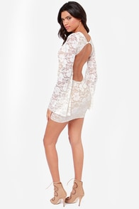 One Rad Girl Evan Backless Ivory Lace Dress at Lulus.com!