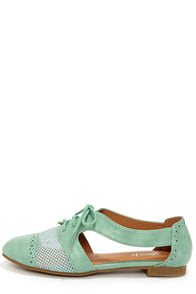 Marty 02 Mint Cutout Oxford Flats at Lulus.com!