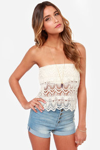 Crochet Grace Strapless Cream Top at Lulus.com!