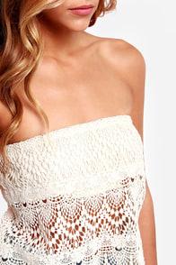 Crochet Grace Strapless Cream Top at Lulus.com!