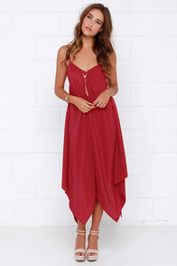 Made it to Moscow Wine Red Midi Dress at Lulus.com!