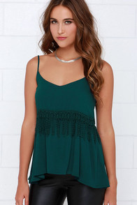 Black Swan Mischa Dark Teal Lace Tank Top at Lulus.com!