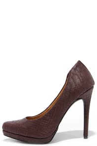 Mia Talia Burgundy Python Platform Pumps at Lulus.com!