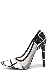 Grid Strides Black and White Pointed Pumps at Lulus.com!