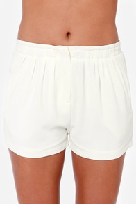 Back to the Basics Ivory Shorts at Lulus.com!