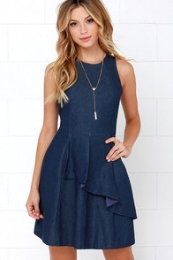 Stairway to Denim Blue Chambray Dress at Lulus.com!