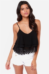 Ruffle Time Black Tank Top at Lulus.com!