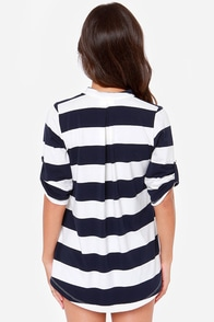 Lucy Love Fairbanks White and Navy Blue Striped Top at Lulus.com!