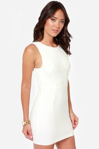 The Lace Between Backless Ivory Dress at Lulus.com!