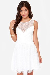 Tinted Love Ivory Lace Dress at Lulus.com!