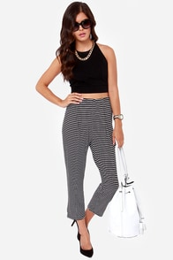 Con-trast Artist Black and White Striped Cropped Pants at Lulus.com!