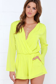 Here and Now Chartreuse Romper at Lulus.com!