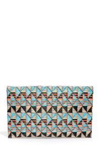 Weave Around Blue Print Clutch at Lulus.com!
