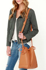 Inside Information Tan Bucket Bag at Lulus.com!