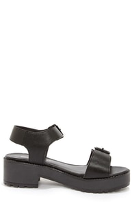 Teela 04 Black Platform Sandals at Lulus.com!