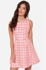 JOA Check Please Beige and Pink Dress at Lulus.com!