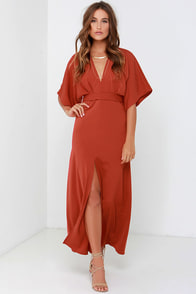 Glamorous Most Valiant Rust Red Maxi Dress $73.00 AT vintagedancer.com