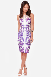 Lumier In Full Bloom Ivory and Purple Print Midi Dress at Lulus.com!