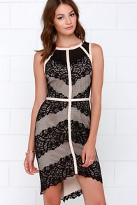 Starring Role Beige and Black Lace Dress at Lulus.com!